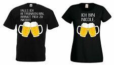 """Partner Pärchen T-Shirt SET """"FALLS ICH BETRUNKEN BIN..."""" mit WUNSCHNAMEN fun bae"""