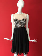 Warehouse Nude Black Sequin Pleated Fit Flare Chiffon Occasion Party Dress 10