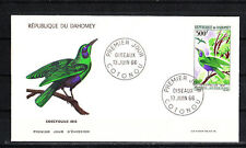 Dahomey  enveloppe 1er jour oiseau  coccyolius    1966
