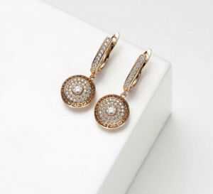 18K GOLD FILLED NOBLE HOOP EARRINGS MADE WITH SWAROVSKI CRYSTALS GIFT  #GF55