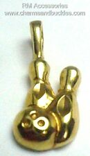 Bowling Charm Ball & Pins League Bowler Sports Pendant EP Gold Plated Charms
