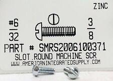 #6-32x3/8 Round Head Slotted Machine Screws Steel Zinc Plated (100)