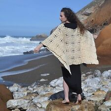 VTG 60s 70s Chunky Knit CROCHET LACE Boho Blanket SWEATER Hippie Poncho Dress