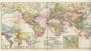 1899 WORLD ECONOMY and TRADE Antique BIG FOLIO Map