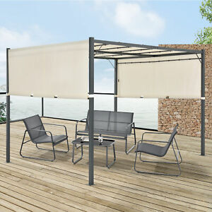 Pavillon Pergola Gartenzelt Terrassendach Sonnenschutz LED Solar 300x300cm Creme