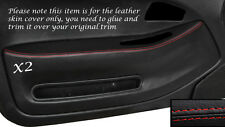 RED STITCH 2X FRONT DOOR CARD TRIM SKIN COVERS FITS HONDA CIVIC COUPE 92-95