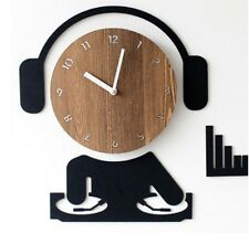 DJ 3D Sticker No noise Movement Wall Clock No ticking Korean Disc Jockey CLOCK