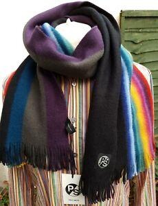 Paul Smith Mens 100% Wool Scarf Reverse Black & Multicolours 165 * 30cm RRP £150