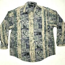 Greg Norman Shirt Mens L Abstract Button Down Long Sleeve Collared Cotton Casual