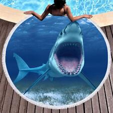 New Ocean Shark Blue Sea Beach Towel Round Tapestry Blanket Bedspread Yoga Mat