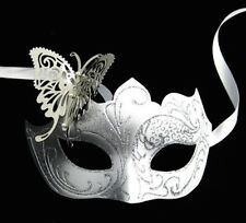 Silver & White Venetian Metal Butterfly Filigree Masquerade Mask Masked Ball