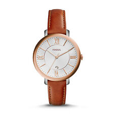 FOSSIL ES3842 Jacqueline Slim White Dial Cedar Brown Leather 36mm Women's Watch