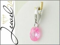 Damen Charms Anhänger echt Silber 925 Sterling rhodiniert mit Pink Zirkonia