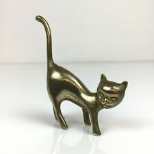 Small Brass Cat Ring Holder Vintage Ornament Figure 9x6cm