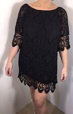 Black Bardot Vestido Encaje Elástico Suave Largo hasta la rodilla impresionantes un Tamaño Nuevo