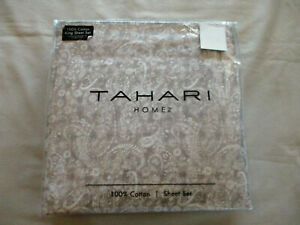 NEW 4pc Tahari Home King Sheet Set French Country Paisley Floral White on Brown