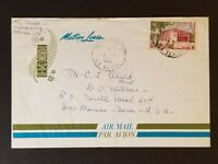 1966 Tahiti to New York City Matson Line Cruise Ship Sea Cancel Air Mail Cover