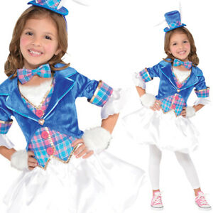 Girls Mad Hatter Costume Fancy Dress Book Day Rabbit Blue