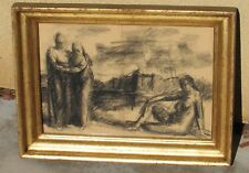 STEVAN KISSEL Listed California Modern Seated Nude by Two Figures Charcoal