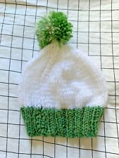 Baby Newborn Beanie Winter Hat Hand Knitted White With Green Pom Pom Cute