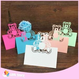 Kids Birthday Party Name Cards Baby Shower Table Name Card Bear Shape Decoration