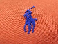 Ralph Lauren Blake Men's Cotton Solid Orange Blue Polo Pony Casual Shirt XXL 2XL