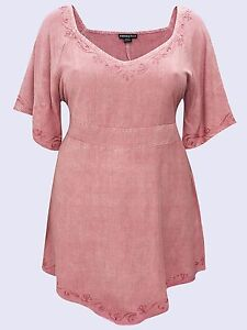 Eaonplus NEW VINTAGE ROSE Medieval Embroidered Tunic Top SIZES UK 18/20 to 30/32