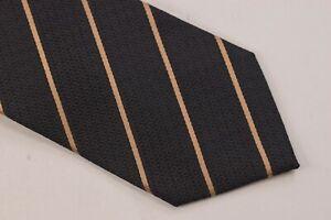 Ermenegildo Zegna NWT Neck Tie In Textured Black With Gold Stripes 100% Silk