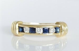 Beautiful Vintage 18ct Yellow Gold Sapphire & Diamond Half Eternity Ring UK M