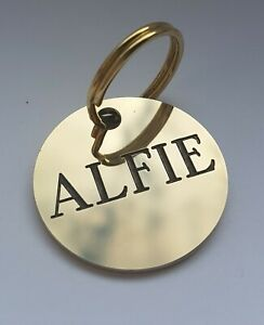 DEEPLY ENGRAVED SOLID BRASS DOG TAG, 30mm disc. UP TO 5 LINES ON EACH SIDE