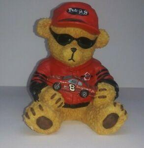 Dale Earnhardt Jr #8 Ceramic Teddy Bear Coin Bank Car Red Jacket Nascar Racing