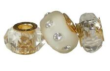 *New* 3 Rhona Sutton gold plate 925 sterling silver crystal & glass charm beads