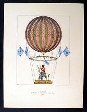 Ascensión de Margat y su Stag Coco 1956 Hot Air Balloon Litografía