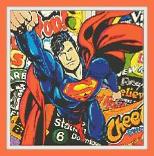 Superman popart Cross Stitch Chart 12.0 x 11.9 inches.