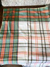 """Vintage Plaid Orange Green White Yellow Cotton 63"""" X 48"""" Rectangle Tablecloth"""
