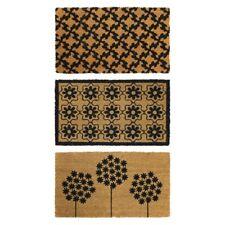 JVL Black Simple Prints Latex Backed Natural Coir Entrance Door Mat - 40 x 70cm