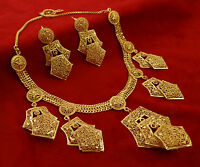 18K Goldplated 2PC Necklace Set Wedding Party Ethnic Traditional Women Jewelry