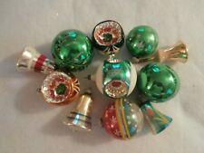 11 Antique Vintage Green & Gold Blown Mercury Glass Christmas Ornaments 4 Bells