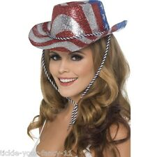 USA Cowboy Glitter Hat Fancy Dress Stars Stripes Flag American Texas Mens Womens