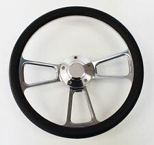 60-73 All VW Volkswagen Beetle Bug Black & Billet Steering Wheel 14 with VW cap