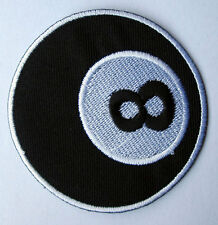 8 EIGHT BALL BILLIARDS POOL LOGO Embroidered Iron on Patch Free Postage