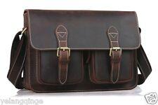 Vintage Men Leather Satchel Business Briefcase Shoulder Messenger Bag School Bag