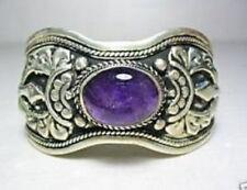 Exquisite Tibet Silver Amethyst Cuff Bracelet