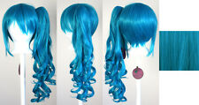 23'' Curly Pony Tail Clip Peacock Blue Cosplay Wig Clip Only NEW