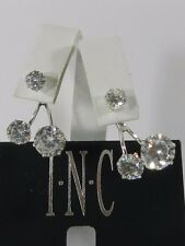 INC International Concepts Silver-Tone Crystal Double-Stud Earring Jacket Earrin