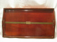 "vintage tray platter wood & brass belt buckle accent carrier 17"" x 10 x 1"
