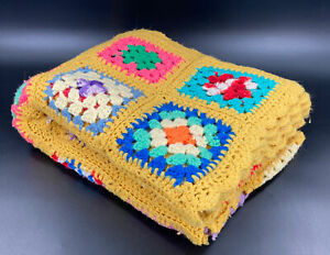 """VTG Granny Square Afghan Hand Crocheted 70's Vibe Yellow Bright Colors (66""""x50"""")"""