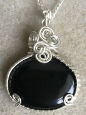 Black Onyx  Gemstone Cabochon Pendant Necklace