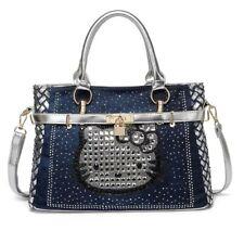 Hello Kitty Rhinestone Denim Blue & Silver Sequined Weave Shoulder Tote Handbag
