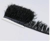 Soft Black Ostrich Feather Fringe Ribbon Trim Tassel Price for 30cm DIY Craft